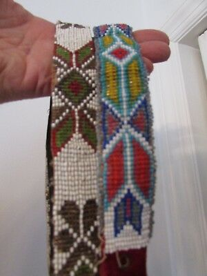2 Antique Native American Belts ( 1920s?) superb faceted glass and elegant color