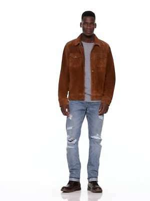 new IN STORE $368 CURRENTGap camel Brown Suede Leather Shirt jacket coat Large