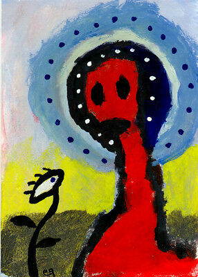 absurdity is my friend e9Art ACEO Outsider Art Brut Painting Raw Naive Eye OOAK