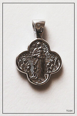 Jesus Christ Crucifix / Mother Of God Virgin Icon Silver Medallion (Ts184)