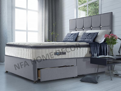 Fabric Divan Bed With Storage Headboard Single Double Kingsize Frame