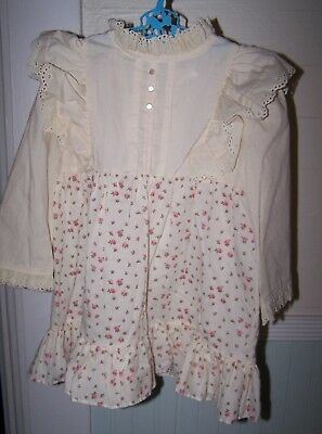 Vintage NANNETTE Baby Girls ruffle Solid & Floral Long Sleeve Dress~ 4 T