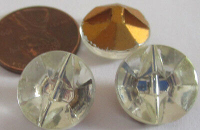 15 Vintage German Glass 13mm Clear Smooth Round Self-Shaft Buttons