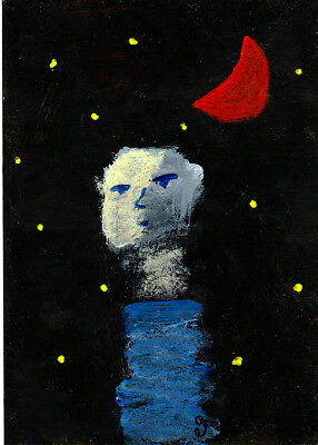 surrender into night e9Art ACEO Outsider Art Brut Painting Abstract Figurative