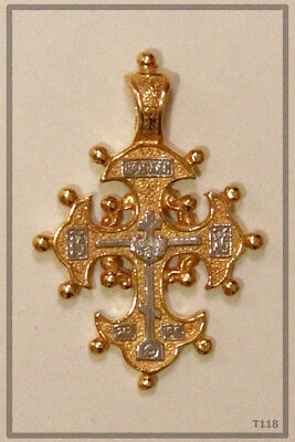Orthodox Silver Gold Cross Pendant Jc Jesus Christ Crucifix (T118)