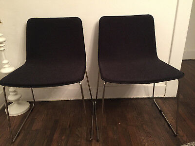 Dining Room Chairs Mid Century Cb2 Style or west elm, Gray with metal legs