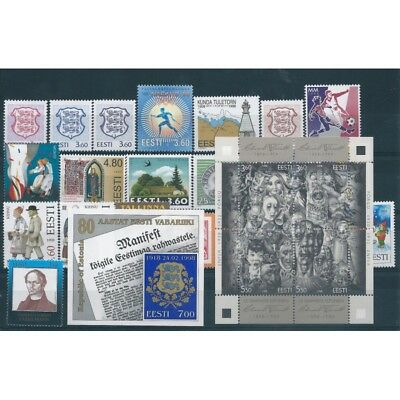 1998 Estonia Eesti Year Complete 21 Values And 2 Bf New Mnh Mf40548