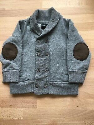 H&M L.O.G.G. boys cardigan cowl sweater 12-18m grey with brown elbow pads