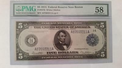 1914 Large Size $5 Federal Reserve Note PMG 58 Choice AU - Boston R@RE!!