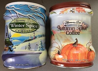 2 HARMONY BAY COFFEE TINS Autumn spice And Winter Spice  with Seasonal Pictures