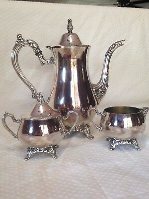 Oneida Silver Plated Tea Set: Footed, 3 Piece Vintage, MADE IN USA Silverplated
