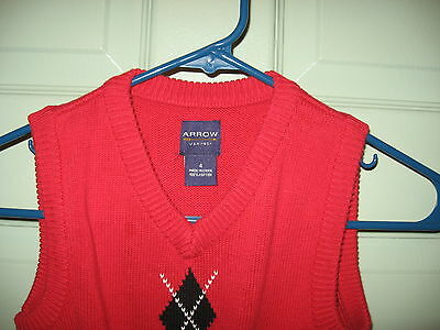 "Boys   Sweater  Vest  ""arrow""    Size 4   100% Cotton"