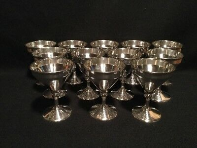 12 Antique Silverplate Wine Goblets