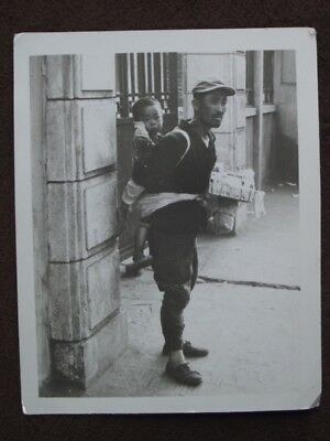 KOREAN MAN WITH CHILD TIED TO HIS BACK Vintage 1950's PHOTO