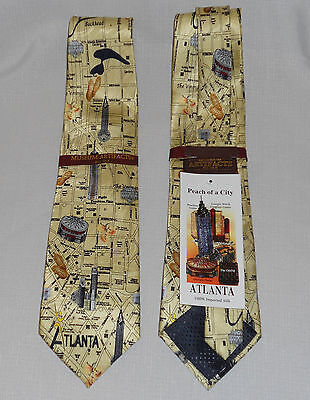 Museum Artifacts Tie - Atlanta - Peach of A City - 100 % Silk - Brand New -Tags