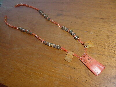 One Strand Of Coral And Silver Beads From Precolumbian Peru Chancay Culture