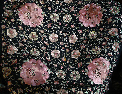 1920s Piano Shawl Antique Vintage Canton Chinese Hand Embroidered  Silk Flowers