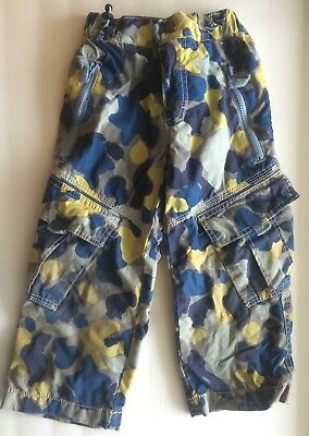 Boys MINI BODEN Camo Camouflage Cargo Skate Lined Winter Pants Size 3 Years