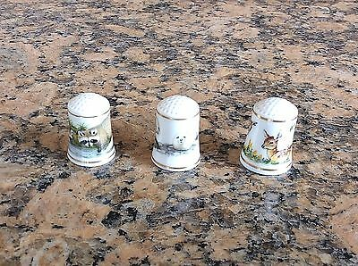 3 thimbles Franklin Mint Porcelain -Baby Animals of the World- raccoon/seal/deer
