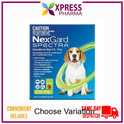 NexGard Spectra Allwormer Chewables for Dogs 7.6 - 15kg wormer NEW STOCK XPRESS