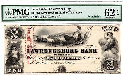 1862 $2 Lawrenceburg Tennessee note. UNC.62 by PMG.Very nice !