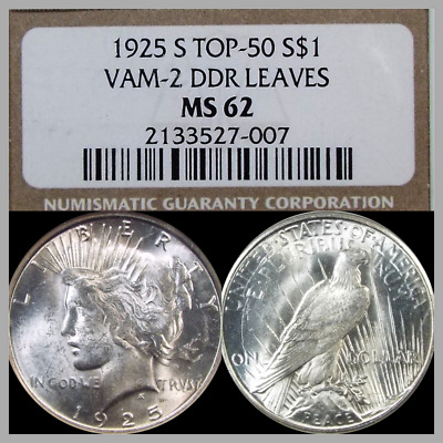 1925 S $ 1 Peace dollar NGC MS 62 VAM-2 Doubled Olive Branches TOP 50 RARE find.