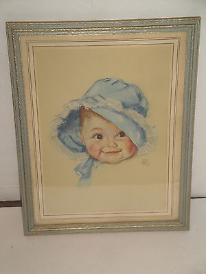 Vintage Maud Tousey Fangel Print Framed Baby Blue Bonnet Precious Nicely Framed