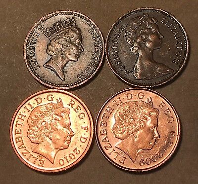 1p 1 Pence One Penny UK British - 4 Coins - 2009 2010 1981 1990