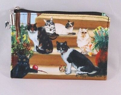Cats Zippered Lined Coin Purse Wallet Travel Makeup Bag Persian Calico Tabby