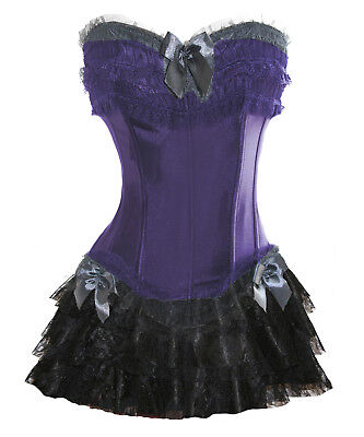 Purple Corset+Black Mini Skirt Lolita Lace Burlesque Frill Costume Fancy 6-8 S