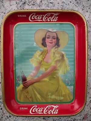 Vintage 1938 Coco Cola Tin Tray Coke Lady in Yellow Dress
