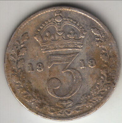 1918 Great Britain silver 3 pence, KM-813