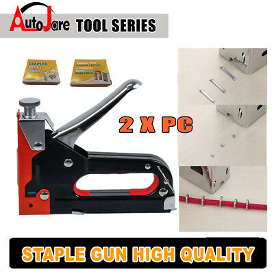 2x HEAVY DUTY STAPLE GUN TACKER UPHOLSTERY STAPLER GUN + Nail Fastener free 1800