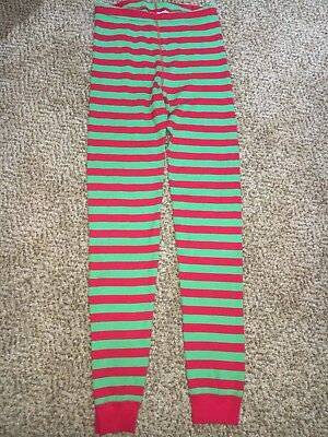 Boys Girls Hanna Andersson Green White Stripe Christmas Pajama Bottoms 150 12