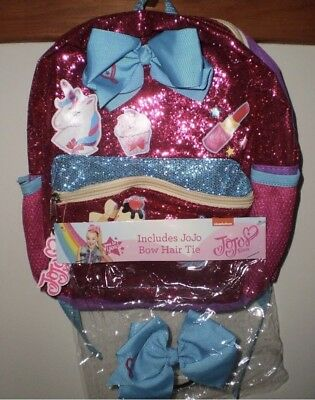 "Jojo Siwa Girls Glitter Just Be You 11"" Backpack  With Bonus Blue Bow Hair Tie!!"