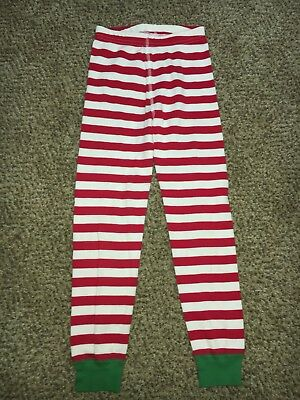 Boys Girls Hanna Andersson Red White Striped Christmas Pajama Bottoms 120 6-7