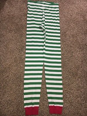 Boys Girls Hanna Andersson Green White Striped Christmas Pajama Bottoms 160 14