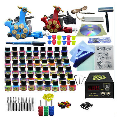 Pro Tattoo Complete Kits 2 Machine & 54 Ink & Needles Power Supply Tools Sets