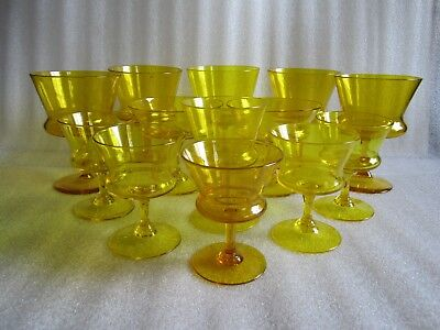 Beautiful Antique Venetian Murano Art Glass Italy Hand Blown Amber Wine Glasses