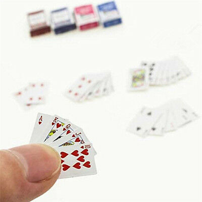 Mini Playing Cards 1:12 Dollhouse Miniature Ornament Creative Toy Poker cards AT