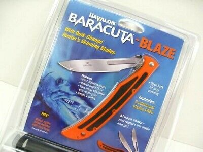 HAVALON Orange BARACUTA Blaze Folding Knife + Sheath + 5 Blades! 115BLAZE