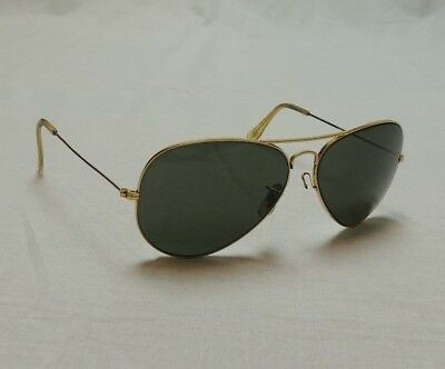 64a7907e05bbd Ray Ban BL USA Vintage Gold Frame Aviator Shooter Sunglasses Glass Lense