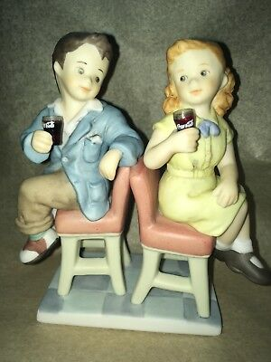 Coca Cola Boy and Girl sitting together, Collectible, 1998, Excellent Condition.