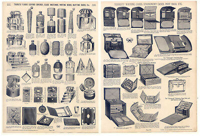 Flaschen-Glas-Tintenfässer-Writing cases-Despatch boxes - Katalog-Holzstich 1890