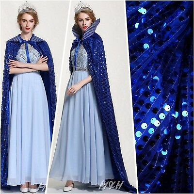 """71"""" Scales Sequin Satin Cloak Cape Beauty Pageant Party Costume Cosplay - BLUE"""