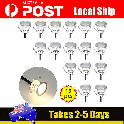 16pcs Recessed LED Deck Lighting Kits Stairs Garden Warm White Durable Sydney!