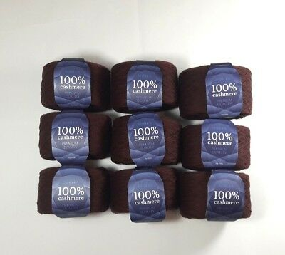 SET 9 * (50g 650m) Brown Chocolate Mongolian Pure 100% Cashmere Yarn Skeins