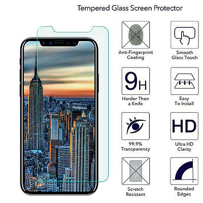 For Apple iPhone 7 Plus 8 X 6 6S 5 Clear Tempered Glass Film Screen Protector tr