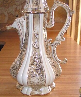 "R Capodimonte Porcelain Pitcher Large 20"" Italy Gold Gilt Orig. Owner Never Used"