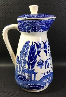 Vintage  Blue Willow Pitcher Carafe With Fitted Lid Large 10L